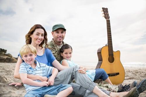 Military Family on Beach