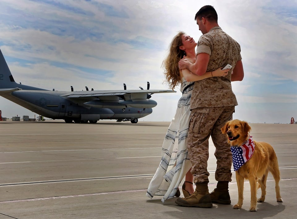 Military Family on Beach